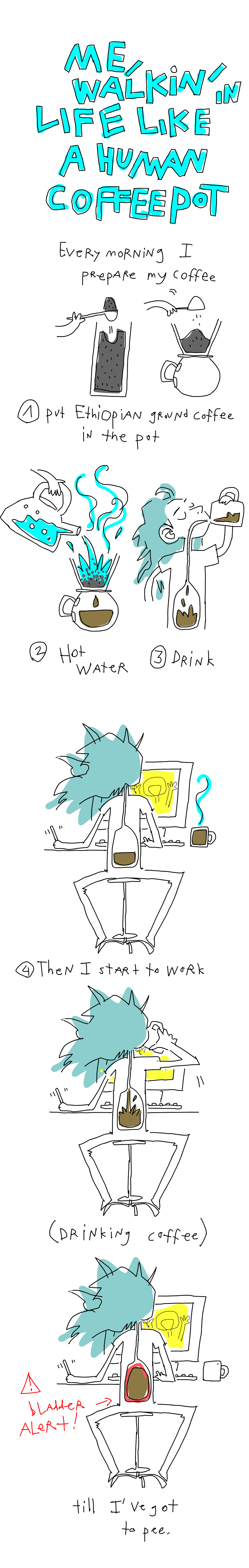 I'm a walking coffee pot. Every morning I prepare my coffee. I put Ethiopian coffee into the pot. Then pour hot water on it. Then drink. The, I start to work... while drinking coffee. Till I've got to pee.