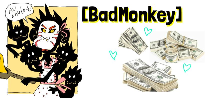 BadMonkey et ses petits singes, en train de faire des crêpes, elle a l'air de mauvaise humeur