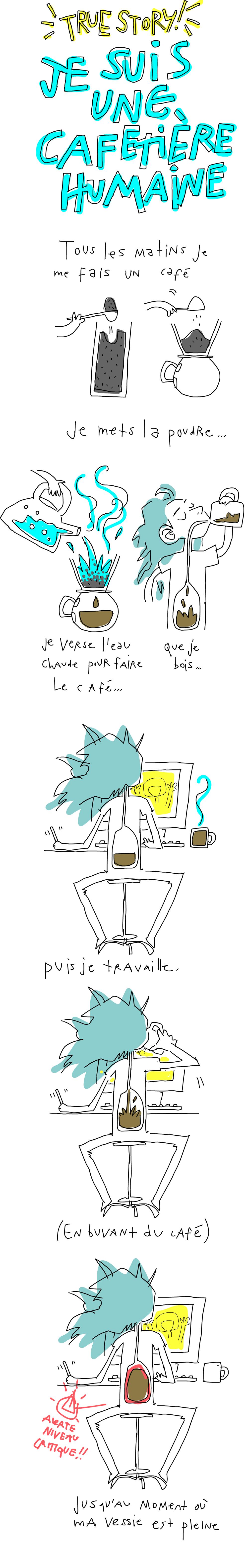 Je suis une cafetière humaine. Tous les matins je me fais un café. Je mets la poudre, je verse l'eau chaude, je bois. Pus je travaille, en buvant du café, jusqu'au moment ou ma vessie est pleine